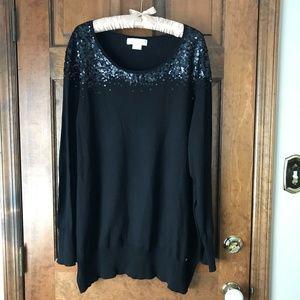 MICHAEL Michael Kors Black Sweater w/Sequins 3X
